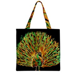 Unusual Peacock Drawn With Flame Lines Grocery Tote Bag