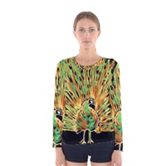 Unusual Peacock Drawn With Flame Lines Women s Long Sleeve Tee