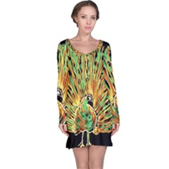 Unusual Peacock Drawn With Flame Lines Long Sleeve Nightdress