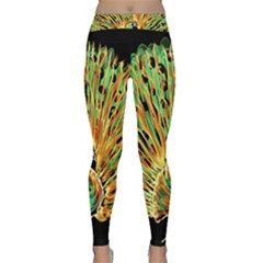 Unusual Peacock Drawn With Flame Lines Classic Yoga Leggings