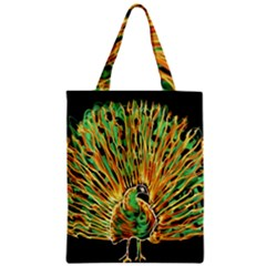 Unusual Peacock Drawn With Flame Lines Zipper Classic Tote Bag