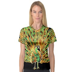 Unusual Peacock Drawn With Flame Lines V Neck Sport Mesh Tee