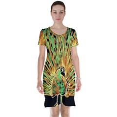 Unusual Peacock Drawn With Flame Lines Short Sleeve Nightdress