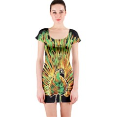 Unusual Peacock Drawn With Flame Lines Short Sleeve Bodycon Dress