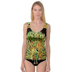 Unusual Peacock Drawn With Flame Lines Princess Tank Leotard