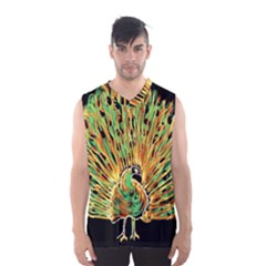 Unusual Peacock Drawn With Flame Lines Men s Basketball Tank Top
