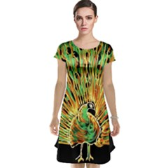 Unusual Peacock Drawn With Flame Lines Cap Sleeve Nightdress