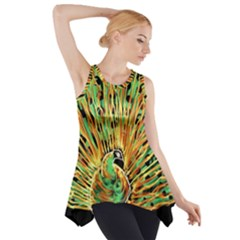 Unusual Peacock Drawn With Flame Lines Side Drop Tank Tunic