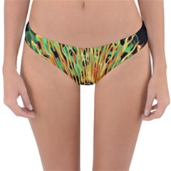 Unusual Peacock Drawn With Flame Lines Reversible Hipster Bikini Bottoms