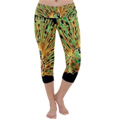 Unusual Peacock Drawn With Flame Lines Capri Yoga Leggings