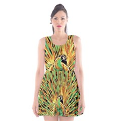 Unusual Peacock Drawn With Flame Lines Scoop Neck Skater Dress