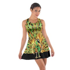 Unusual Peacock Drawn With Flame Lines Cotton Racerback Dress