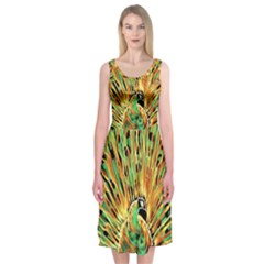 Unusual Peacock Drawn With Flame Lines Midi Sleeveless Dress