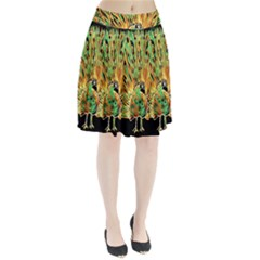 Unusual Peacock Drawn With Flame Lines Pleated Skirt