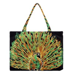 Unusual Peacock Drawn With Flame Lines Medium Tote Bag
