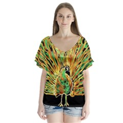 Unusual Peacock Drawn With Flame Lines Flutter Sleeve Top