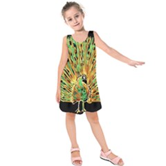 Unusual Peacock Drawn With Flame Lines Kids  Sleeveless Dress