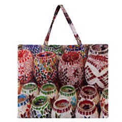 Colorful Oriental Candle Holders For Sale On Local Market Zipper Large Tote Bag