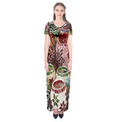 Colorful Oriental Candle Holders For Sale On Local Market Short Sleeve Maxi Dress