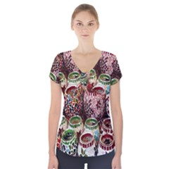 Colorful Oriental Candle Holders For Sale On Local Market Short Sleeve Front Detail Top