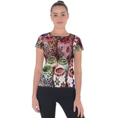 Colorful Oriental Candle Holders For Sale On Local Market Short Sleeve Sports Top