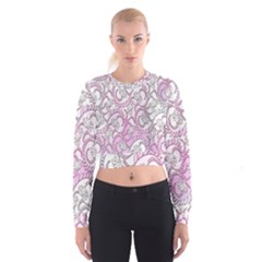 Floral Pattern Background Cropped Sweatshirt