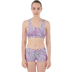 Floral Pattern Background Work It Out Sports Bra Set