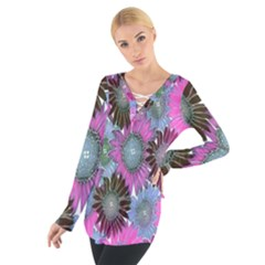Floral Pattern Background Tie Up Tee