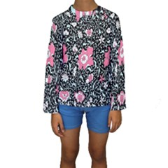 Oriental Style Floral Pattern Background Wallpaper Kids  Long Sleeve Swimwear