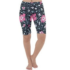 Oriental Style Floral Pattern Background Wallpaper Cropped Leggings