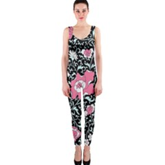 Oriental Style Floral Pattern Background Wallpaper OnePiece Catsuit