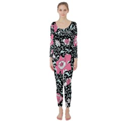 Oriental Style Floral Pattern Background Wallpaper Long Sleeve Catsuit