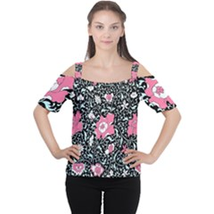 Oriental Style Floral Pattern Background Wallpaper Cutout Shoulder Tee