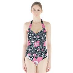 Oriental Style Floral Pattern Background Wallpaper Halter Swimsuit
