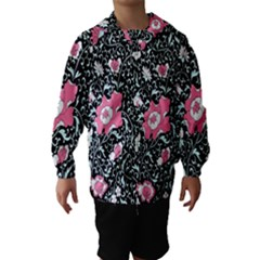 Oriental Style Floral Pattern Background Wallpaper Hooded Wind Breaker (Kids)