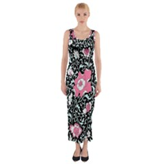 Oriental Style Floral Pattern Background Wallpaper Fitted Maxi Dress