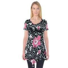 Oriental Style Floral Pattern Background Wallpaper Short Sleeve Tunic