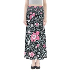 Oriental Style Floral Pattern Background Wallpaper Full Length Maxi Skirt