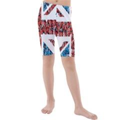 Fun And Unique Illustration Of The Uk Union Jack Flag Made Up Of Cartoon Ladybugs Kids  Mid Length Swim Shorts