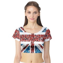 Fun And Unique Illustration Of The Uk Union Jack Flag Made Up Of Cartoon Ladybugs Short Sleeve Crop Top (Tight Fit)