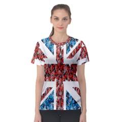 Fun And Unique Illustration Of The Uk Union Jack Flag Made Up Of Cartoon Ladybugs Women s Sport Mesh Tee