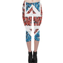 Fun And Unique Illustration Of The Uk Union Jack Flag Made Up Of Cartoon Ladybugs Capri Leggings