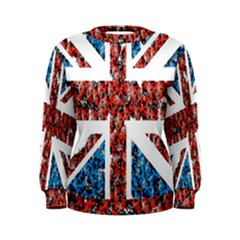 Fun And Unique Illustration Of The Uk Union Jack Flag Made Up Of Cartoon Ladybugs Women s Sweatshirt