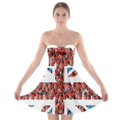 Fun And Unique Illustration Of The Uk Union Jack Flag Made Up Of Cartoon Ladybugs Strapless Bra Top Dress