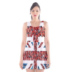 Fun And Unique Illustration Of The Uk Union Jack Flag Made Up Of Cartoon Ladybugs Scoop Neck Skater Dress