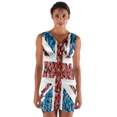 Fun And Unique Illustration Of The Uk Union Jack Flag Made Up Of Cartoon Ladybugs Wrap Front Bodycon Dress