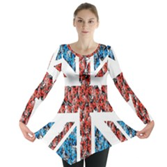 Fun And Unique Illustration Of The Uk Union Jack Flag Made Up Of Cartoon Ladybugs Long Sleeve Tunic