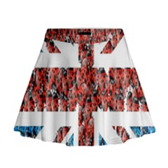 Fun And Unique Illustration Of The Uk Union Jack Flag Made Up Of Cartoon Ladybugs Mini Flare Skirt