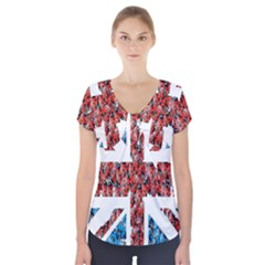 Fun And Unique Illustration Of The Uk Union Jack Flag Made Up Of Cartoon Ladybugs Short Sleeve Front Detail Top