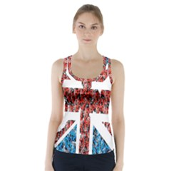 Fun And Unique Illustration Of The Uk Union Jack Flag Made Up Of Cartoon Ladybugs Racer Back Sports Top